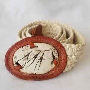 "Accessories - Vintage Crochet Belt w/ Leather & Stone Buckle 35"""